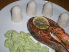 Salmon with avocado pears