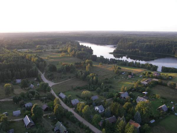 Šnieriškės village and lake Aisetas from hot air balloon